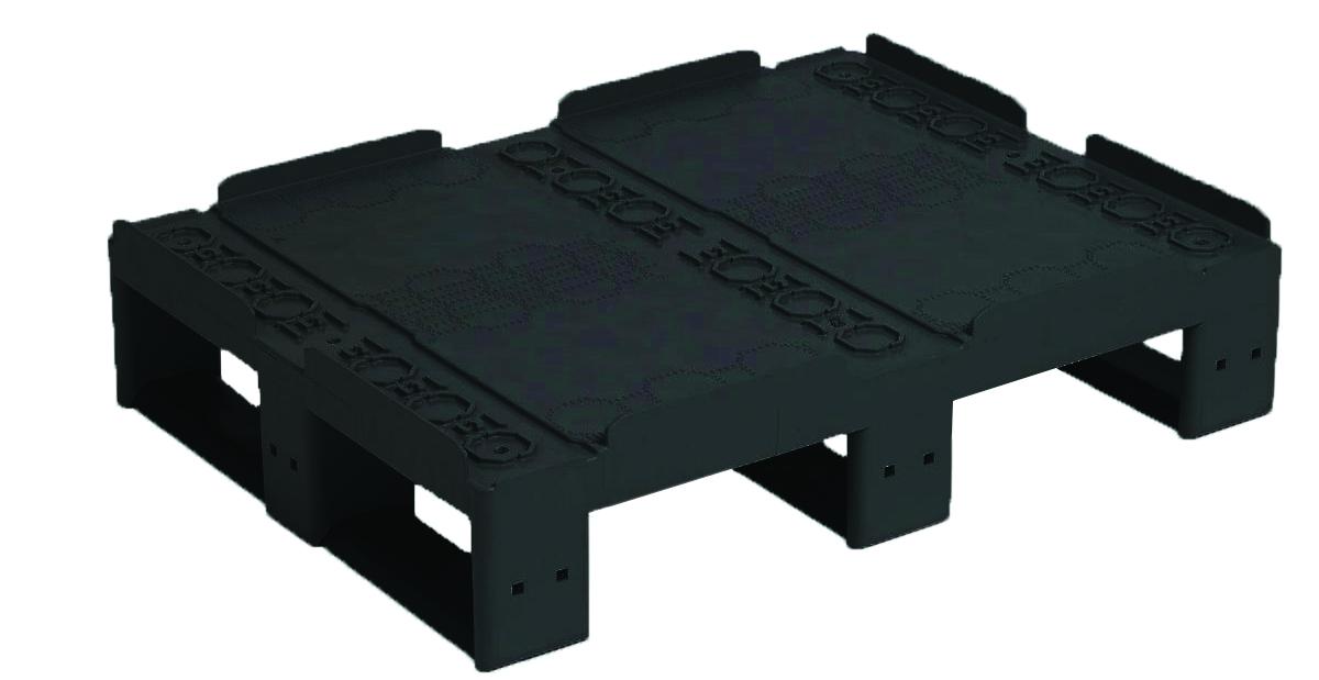 Palette recyclée pour réhausses 3 semelles plateau fermé avec rebords charge dynamique : 1000 kg - dimensions : L 800 x l. 600 x H 160 mm - coloris noir