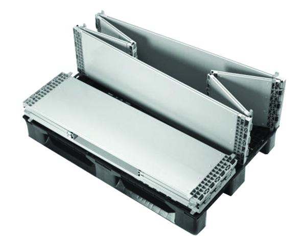 Réhausse pliante en plastique pour palette charge : 500 kg - dimensions : L 1200 x l. 1000 x H 330 mm - conditionnement par 48 - coloris gris